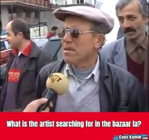 What is the artist searching for in the bazaar la?
