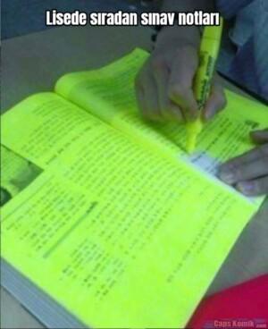 Lisede sıradan sınav notları