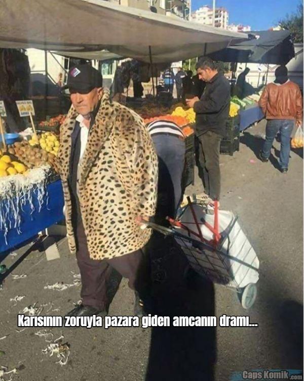 Karısının zoruyla pazara giden amcanın dramı...